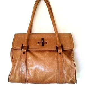 Zina Eva Leather Bag Shoulder Satchel Beige Brown